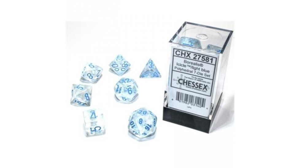 7 dés polyhédriques - Chessex Games Borealis